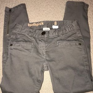 Crewcuts olive toothpick zipper ankle moto jeans 8